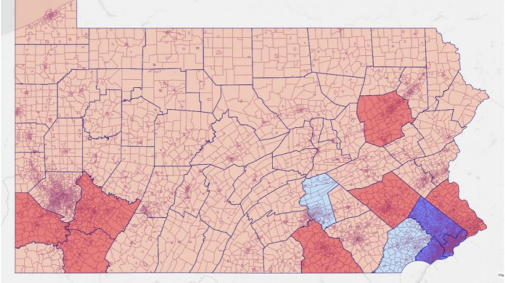 Distribución cartográfica de la registración de votantes republicanos, dividido por condados del estado de Pensilvania, semana del 31/8 al 7/9. Rojo: republicano, Azul: demócrata.