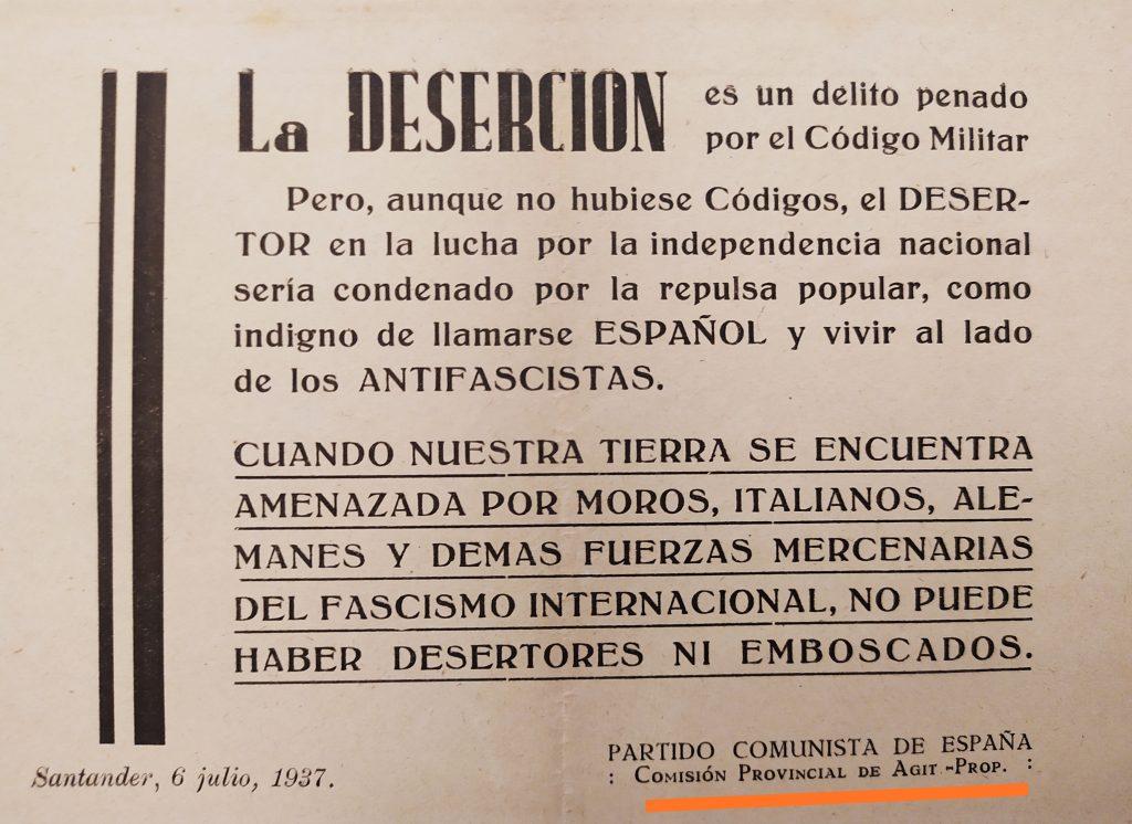 Propaganda de guerra del Frente Popular, ya en las cercanías de la derrota total en el norte, que encontré en un libro de texto del Instituto.