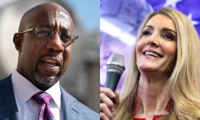 El candidato demócrata a uno de los escaños del Senado de Estados Unidos por Georgia, Raphael Warnock (i), y la senadora Kelly Loeffler (dcha.). (Archivo/Getty Images)