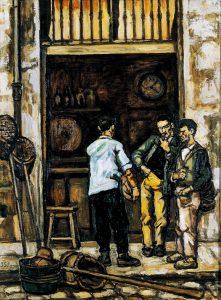 Cuadro de Gutierrez Solana que representa pescadores en un momento de taberneo