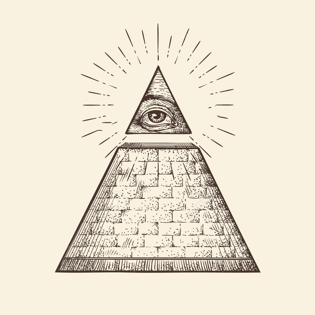 67209567 todo lo ve simbolo de la piramide del ojo nuevo orden mundial vector bosquejo a mano
