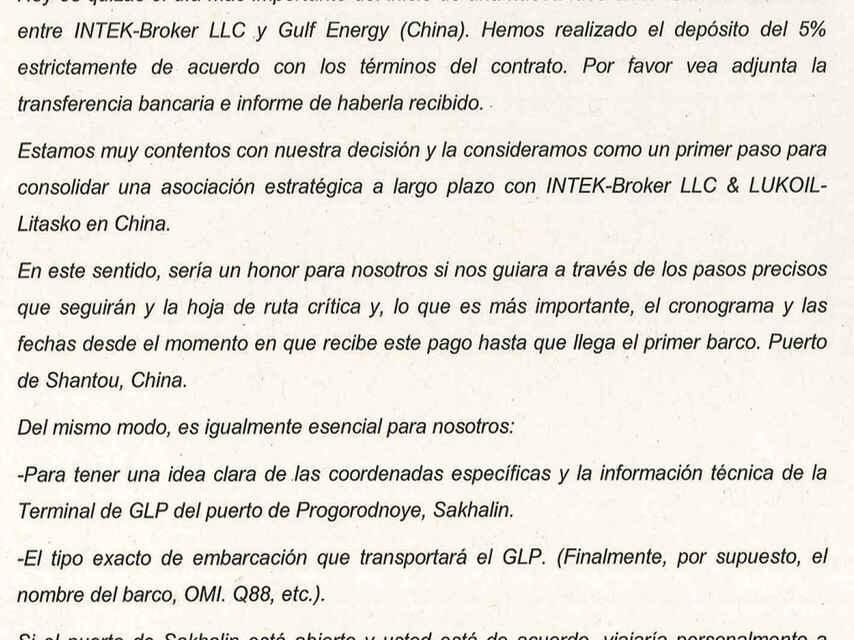 Traducción realizada por la Guardia Civil del correo electrónico enviado por el consejero delegado de la compañía china Gulf Energy, Andrés Pena.