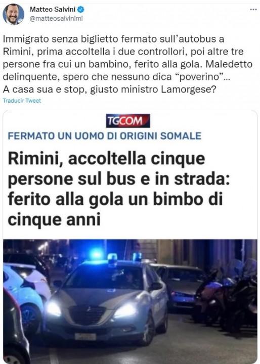Tweet Salvini