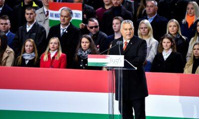 El primer ministro de Hungría, Viktor Orbán, en su discurso en la 'Marcha de la Paz', que conmemora la Revolución Húngara de 1956. REUTERS