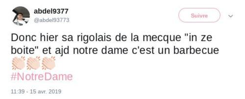 Con muchas faltas de ortografía, este individuo viene a decir que los que se reían ayer hoy ven a Notre Dame convertida en una barbacoa. Y añade símbolos de aplausos por ello.